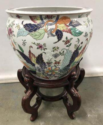 Asian Ceramic Porcelain Pot With Wooden Stand