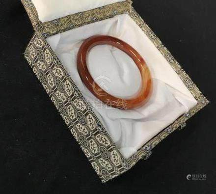 Chinese Red Agate Bangle Bracelet in Silk Box