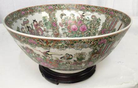 Vintage Asian Famille Rose Style Bowl On Stand