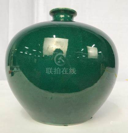 Richly Green Glazed Ceramic Vase Vessel