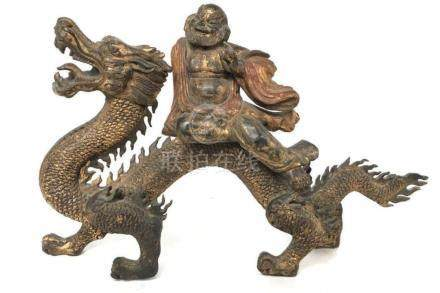 Old Chinese Wood Carving Dragon w Buddha