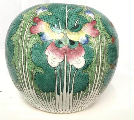 Old Chinese Ceramic Watermelon Jar Vessel