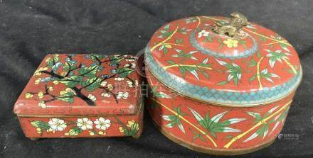 2 Antique Chinese Cloisonee Metal Jewelry Boxes