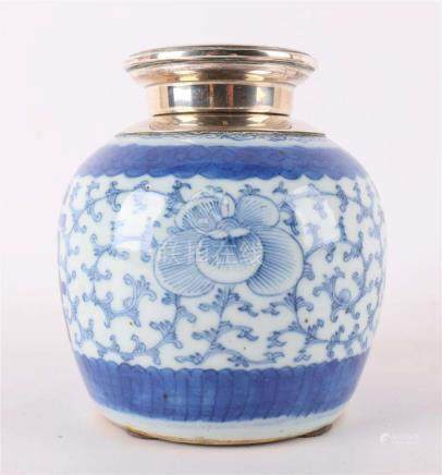 A spherical porcelain ginger jar with silver member, China,