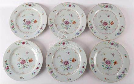 A series of six porcelain famille pink plates, China Qianlon