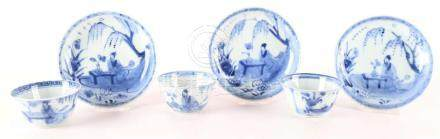 A series of three blue / white porcelain cups and saucers, C