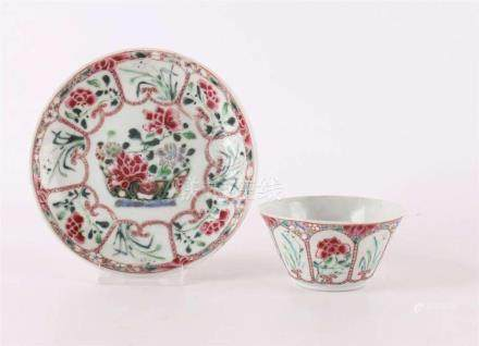 A porcelain famille rose cup and saucer, China, Yongzheng, c