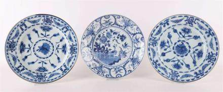 A pair of blue / white porcelain dishes + 1 other, China, in