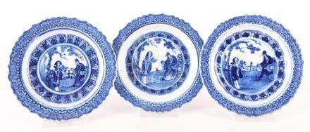 Honor series of three porcelain plates, China, 18th / 19th c