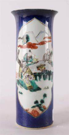 A trumpet-shaped porcelain vase, so-called poudre bleu, Chin