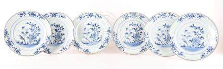 A series of six blue / white porcelain plates, China, Qianlo