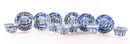 A series of six blue / white porcelain cups and saucers, Chi