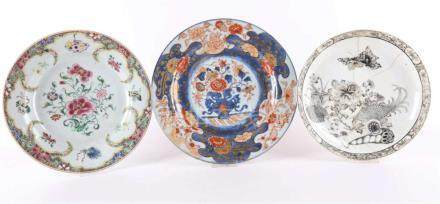Three various porcelain plates, by Ancre de Chine, China 18t