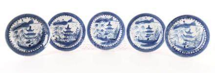 A series of five blue / white porcelain dishes, China, Qianlong.
