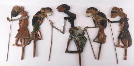 A lot of five different wooden wayang klitik dolls, Indonesi