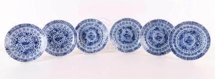 A series of six porcelain saucers, China, Kangxi, 18th centu
