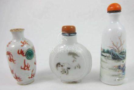 TEN CHINESE PORCELAIN SNUFF BOTTLES, of various fo