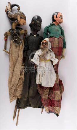 A lot of various wooden wayang Golek dolls, Indonesia, inclu