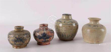 Four Chinese porcelain vases, China, Ming, 16th century.