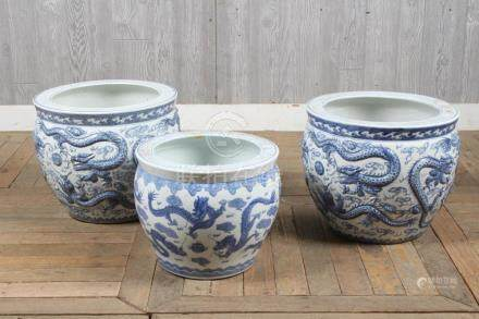 3 Chinese Blue and White Dragon Pots