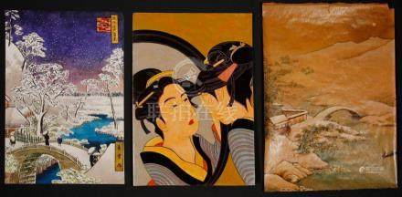 (3) PAINTING FROM JAPANESE WOODBLOCK PRINTS OR SCROLLS, CA.