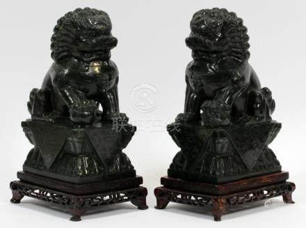 PAIR ANTIQUE CHINESE DARK GREEN JADE FOO DOGS