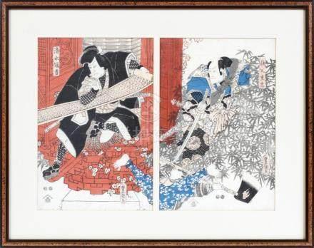 UKIYO-E KUNIYOSHI WOODBLOCK PRINT, C. 1850