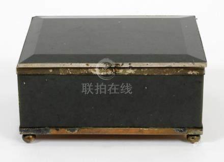 """CHINESE, JADE BOX, 19TH.C., H 2"""", W 4.5"""""""