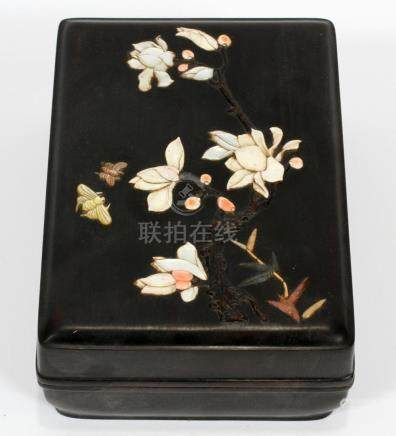 CHINESE WOOD MOTHER-OF-PEARL AND SOAPSTONE BOX