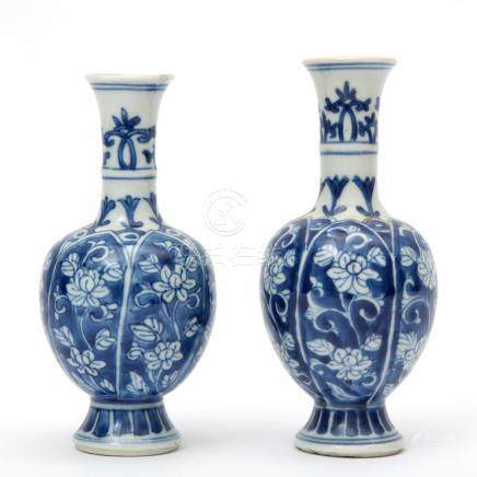Two vases decorated in blue & white
