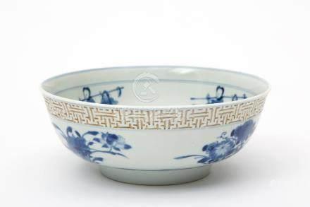 A blue & white mantou xin bowl with fretwork border