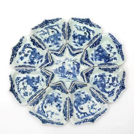 A blue & white sweetmeat set