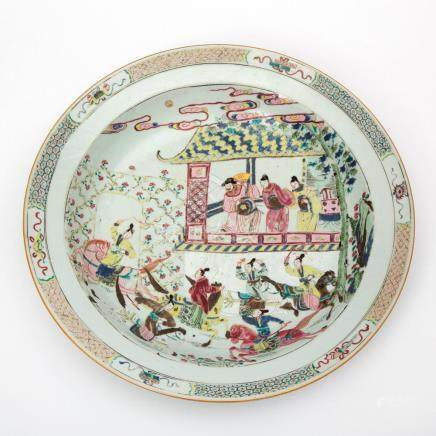 A large fencai charger plate court scene with horses