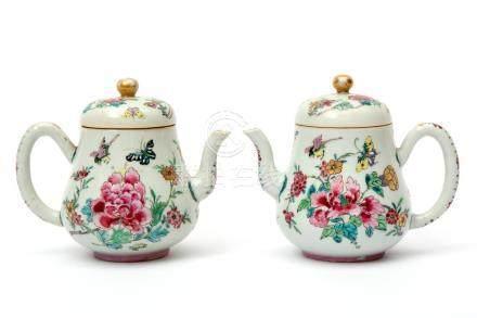 A pair of fencai teapots
