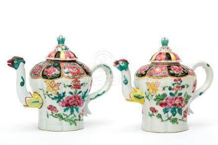 Two famille noire teapots with phoenix spouts