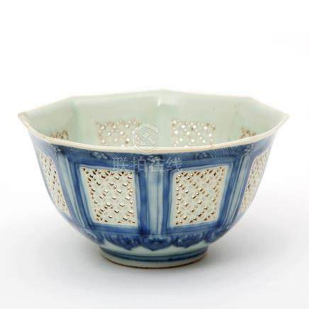 A ling long reticulated bowl with blue & white decoration