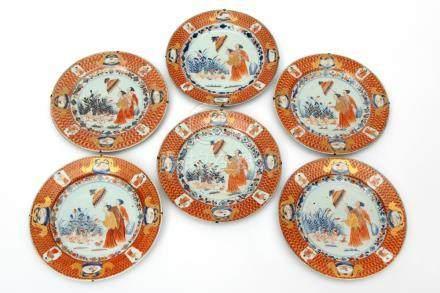 A set of six Cornelis Pronk plates, Dame au parasol