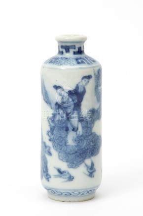 A blue & white snuff bottle with figures