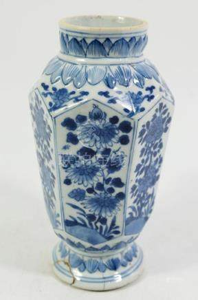 A Chinese blue and white vase, Kangxi or later,