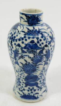 A Chinese blue and white vase, Kangxi style, baluster
