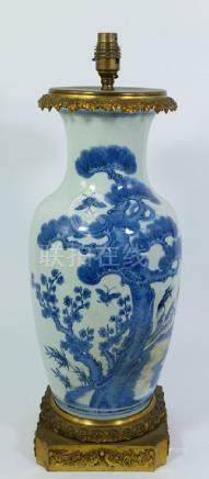 A Chinese blue and white vase, shouldered form, painted