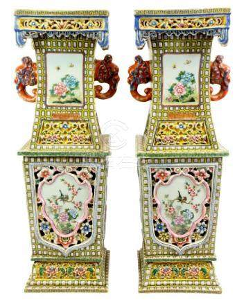 A large pair of Chinese famille rose vases, Guangxu