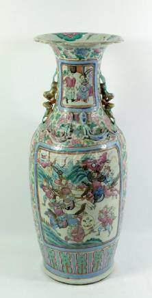 A large Chinese famille rose vase, shouldered form with