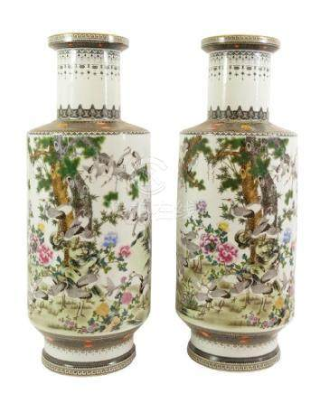 A pair of Chinese Republican famille rose rouleau