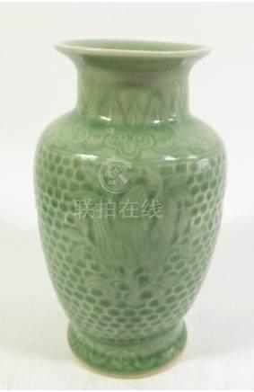 A Chinese celadon vase, Yongzheng mark, shouldered