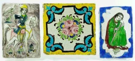 Three Quajar pottery tiles, Iran, circa 1860, relief