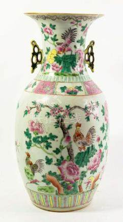 A Chinese famille rose vase, 19th century, twin