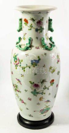 A large Chinese famille rose vase on stand, relief