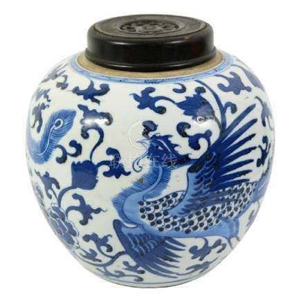 A Chinese blue and white ginger jar, possibly Kangxi or