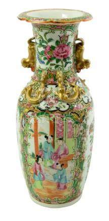 A Chinese famille rose vase, lizard moulded neck and